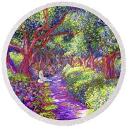 Dove And Healing Garden Round Beach Towel by Jane Small
