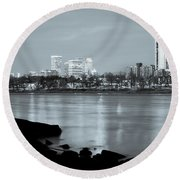 Downtown Tulsa Oklahoma - University Tower View - Black And White Round Beach Towel by Gregory Ballos