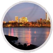 Downtown Tulsa Oklahoma - University Tower View Round Beach Towel by Gregory Ballos