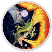 Dragon Fire Round Beach Towel by The Dragon Chronicles
