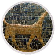 Dragon Of Marduk - On The Ishtar Gate Round Beach Towel by Anonymous