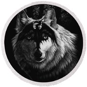 Dragon Wolf Round Beach Towel by Stanley Morrison