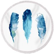 Dream Catcher Feathers Painting Round Beach Towel by Joanna Szmerdt