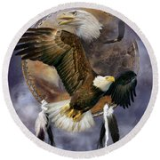Dream Catcher - Spirit Eagle Round Beach Towel by Carol Cavalaris