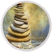 Dreaming Stones Round Beach Towel by Carol Cavalaris
