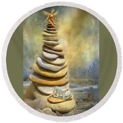 Dreaming Stones Round Beach Towel by Carol Cavalaris