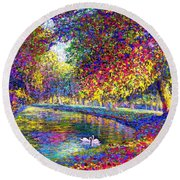 Drifting Beauties, Swans, Colorful Modern Impressionism Round Beach Towel by Jane Small