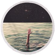 Drowned In Space Round Beach Towel by Fran Rodriguez
