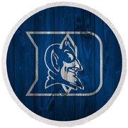 Duke Blue Devils Barn Door Round Beach Towel by Dan Sproul
