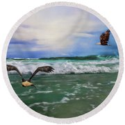 Eagles At Sea Wildlife Art Round Beach Towel by Jai Johnson
