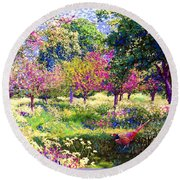 Echoes From Heaven, Spring Orchard Blossom And Pheasant Round Beach Towel by Jane Small