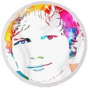Ed Sheeran Paint Splatter Round Beach Towel by Dan Sproul