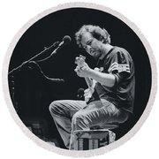 Eddie Vedder Playing Live Round Beach Towel by Marco Oliveira