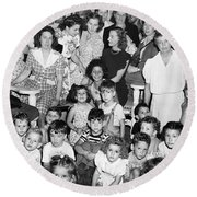 Eleanor Roosevelt And Children Round Beach Towel by Underwood Archives