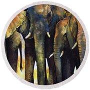 Elephant Herd Round Beach Towel by Paul Dene Marlor