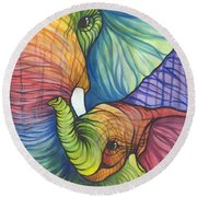 Elephant Hug Round Beach Towel by Sarah Jane