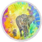 Elephants Round Beach Towel by Tamara Tavernier