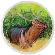 Elk Original Oil Painting On 24x24x1 Inch Gallery Canvas Round Beach Towel by Manuel Lopez