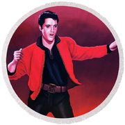 Elvis Presley 4 Painting Round Beach Towel by Paul Meijering