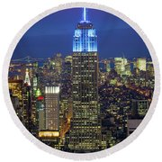 Empire State Building Round Beach Towel by Inge Johnsson