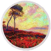 Enchanted By Poppies Round Beach Towel by Jane Small