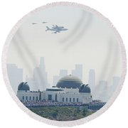 Endeavor Space Shuttle And Griffith Observatory Round Beach Towel by Pd