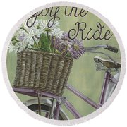 Enjoy The Ride Round Beach Towel by Debbie DeWitt