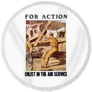 Enlist In The Air Service Round Beach Towel by War Is Hell Store