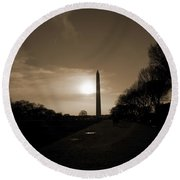 Evening Washington Monument Silhouette Round Beach Towel by Betsy Knapp