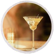 Evening With Martini Round Beach Towel by Ekaterina Molchanova