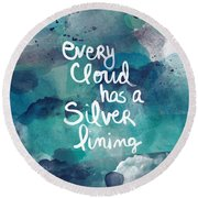 Every Cloud Round Beach Towel by Linda Woods