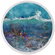 Everything Under The Sea Round Beach Towel by Betsy Knapp