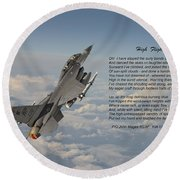 F16 - High Flight Round Beach Towel by Pat Speirs