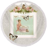 Fairy Teacups - Flutterbye Butterflies And English Rose Damask Round Beach Towel by Audrey Jeanne Roberts