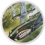 Famous Aircraft And Their Pilots Round Beach Towel by Wilf Hardy