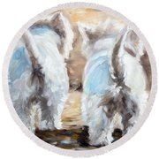 Farewell Round Beach Towel by Mary Sparrow