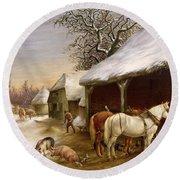 Farmyard In Winter  Round Beach Towel by Henry Woollett