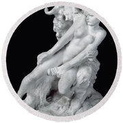 Faun And Nymph Round Beach Towel by Auguste Rodin