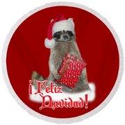 Feliz Navidad - Raccoon Round Beach Towel by Gravityx9  Designs