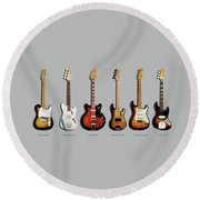 Fender Guitar Collection Round Beach Towel by Mark Rogan