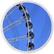 Ferris Wheel At Navy Pier, Chicago No. 1 Round Beach Towel by Sandy Taylor