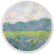 Field Of Yellow Irises At Giverny Round Beach Towel by Claude Monet
