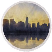 Fire In The Sky Chicago At Sunset Round Beach Towel by Scott Norris