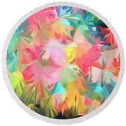 Fireworks Floral Abstract Square Round Beach Towel by Edward Fielding