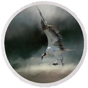 First Catch Of The Morning Osprey Art By Jai Johnson Round Beach Towel by Jai Johnson