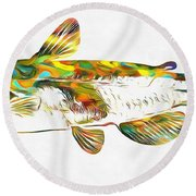 Fish Art Catfish Round Beach Towel by Dan Sproul