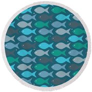 Fish Blue  Round Beach Towel by Mark Ashkenazi
