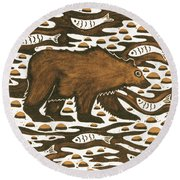 Fishing Bear Round Beach Towel by Nat Morley