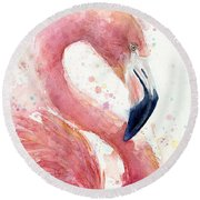 Flamingo - Facing Right Round Beach Towel by Olga Shvartsur