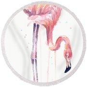 Flamingo Illustration Watercolor - Facing Left Round Beach Towel by Olga Shvartsur